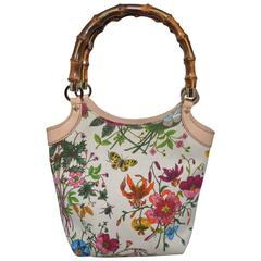 Gucci Blooms Floral & Insect Print Canvas Bamboo Handle Handbag