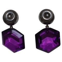 Judith Hendler Hexagon Purple Lucite and Sterling Drop Earrings