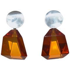 Judith Hendler Sterling Silver Geometric Acrylic Drop Earrings