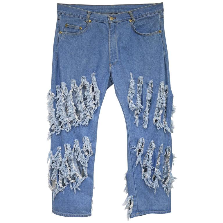 Vivienne Westwood 'CUT AND SLASH' hipster jeans, c. 1991 For Sale