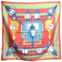 Vintage Hermes carre twill silk scarf. Armor, Knight motif lamp design.