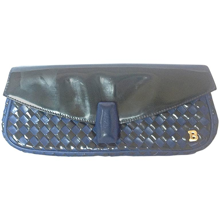 Vintage Bally black and blue enamel intrecciato design leather clutch purse