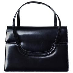 1960s Gucci Black Leather Bag