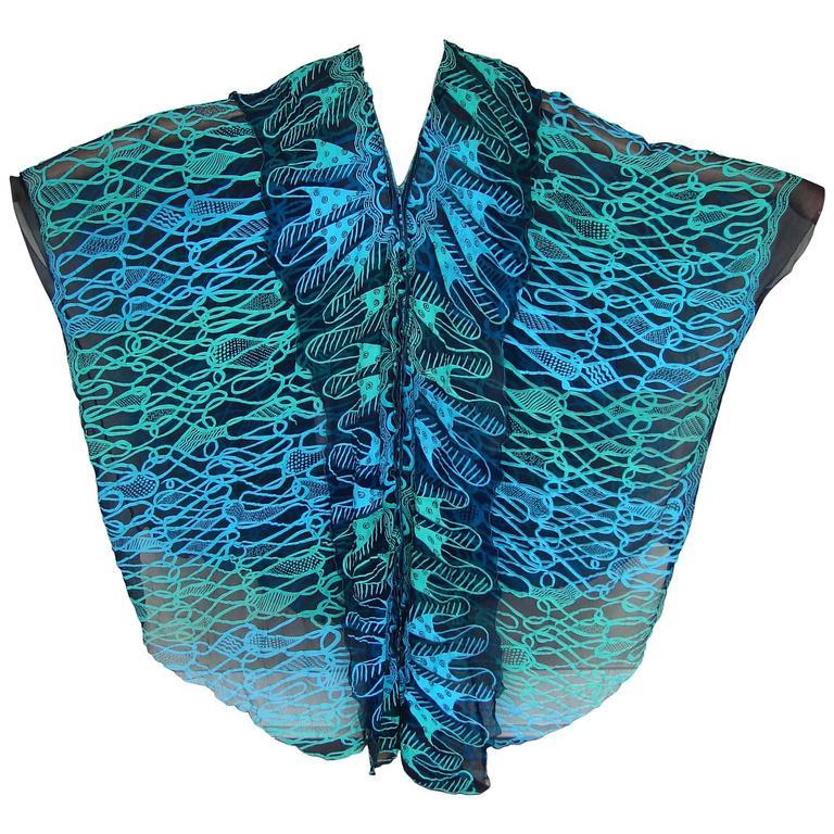 70s Zandra Rhodes Kaftan Dress Silk Chiffon Blue Abstract Print Size M   1