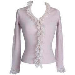 MOSCHINO Vintage Cardigan / Top Soft Pink Charming Delicate Ruffle 42 fits 4-6