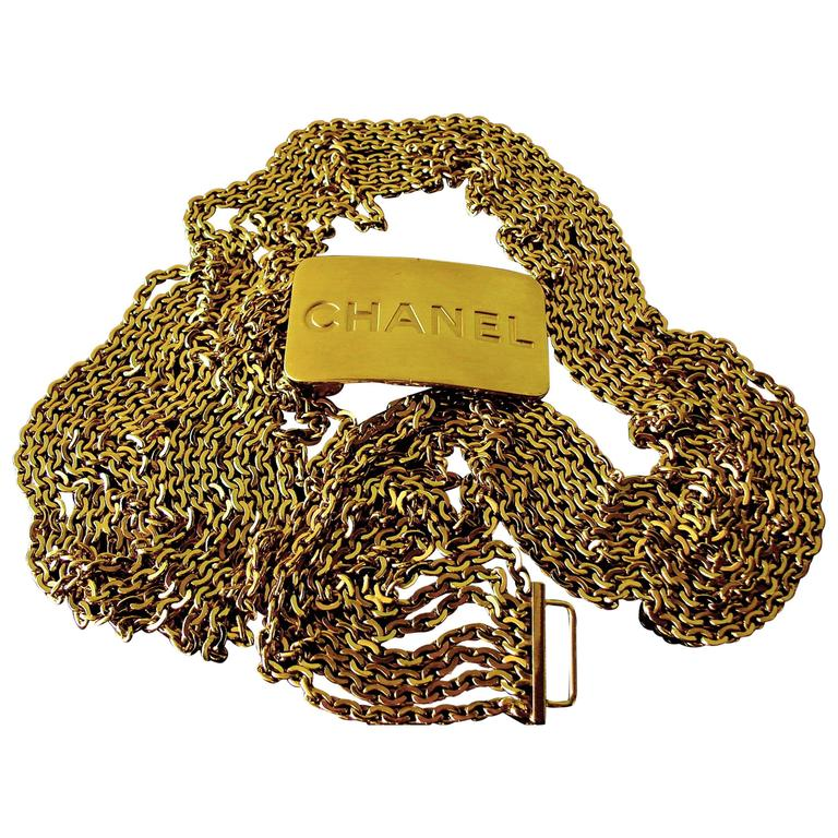 Chanel Large Multi Chain Belt CC Logo Gold Bar 1996 Sz L 1