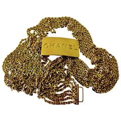 Chanel Gold Multi Chain Belt CC Logo Bar 1996 Sz L