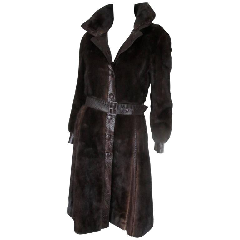chocolate brown mink fur coat