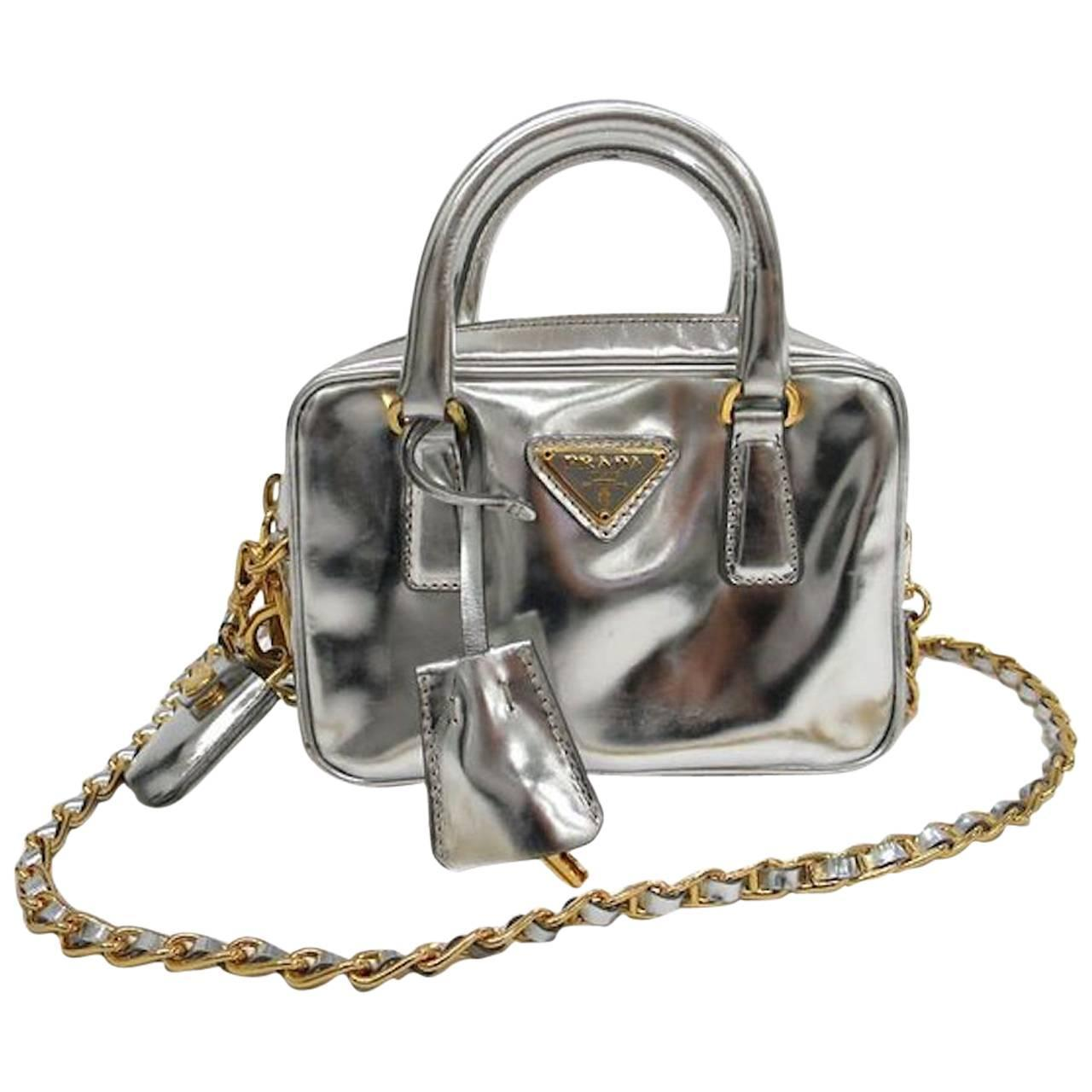 3f8a3a2bdf864 ... promo code for prada silver patent leather gold chain hw top handle  crossbody shoulder bag at