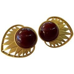 1980s YSL Yves Saint Laurent Matte Goldtone and Brown Cabochon Clip on Earrings