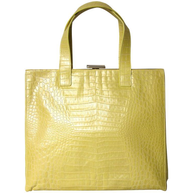 ESCADA YELLOW Pearl Croc Leather Large Handbag New Old stock