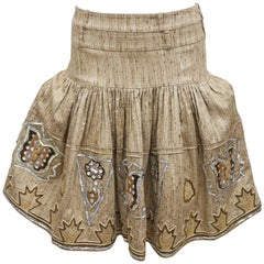 Christian Dior by John Galliano raw silk embroidered tiered skirt, c. 2000s
