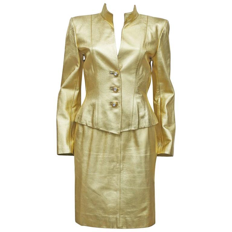 Yves Saint Laurent Gold Leather Skirt Suit, c. 1979 1