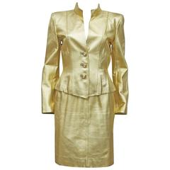 Yves Saint Laurent Gold Leather Skirt Suit, c. 1979