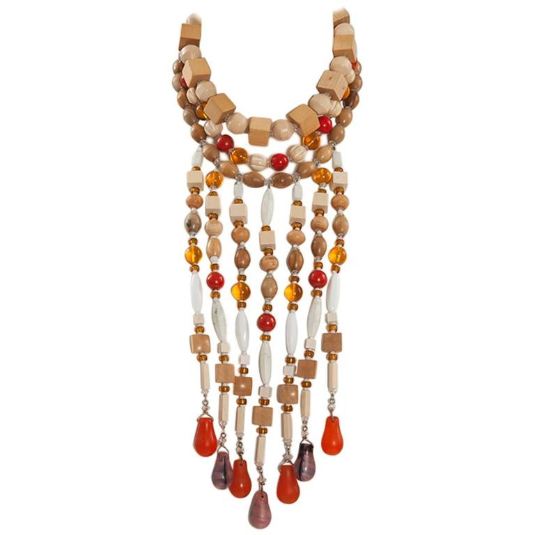 Yves Saint Laurent African Inspired Multi-Strand Necklace  1