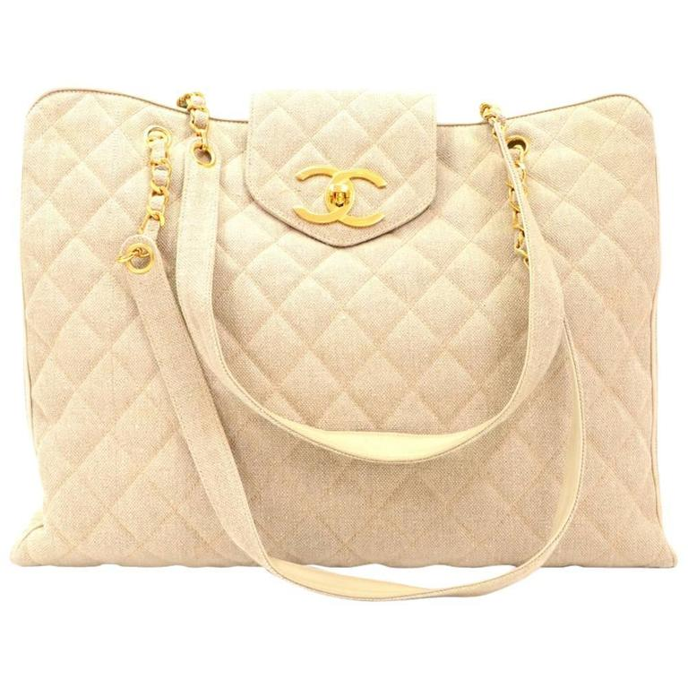 Chanel Overnighter Supermodel Beige Quilted Canvas Shoulder Tote Bag For Sale