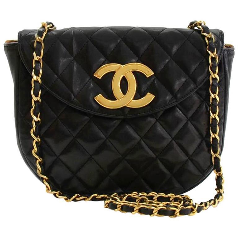 """ba99f613120122 Chanel Bag Large Logo. Chanel 10"""" Black Quilted Leather Shoulder ..."""