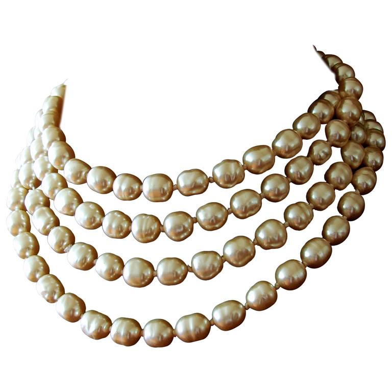 Chanel Pearl Necklace Infinity Opera Length 65in in Box 1980s 1