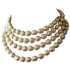 Chanel Pearl Necklace Infinity Opera Length 65in in Box 1980s