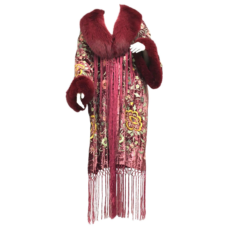 Adrienne landau floral embroidered velvet fox fringe
