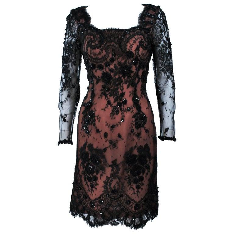 FE ZANDI Black Lace Embellished Cocktail Dress Size 8 For Sale
