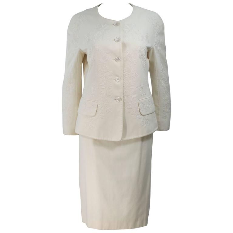 MOSCHINO Off White Embroidered Stretch Skirt Suit Size 12