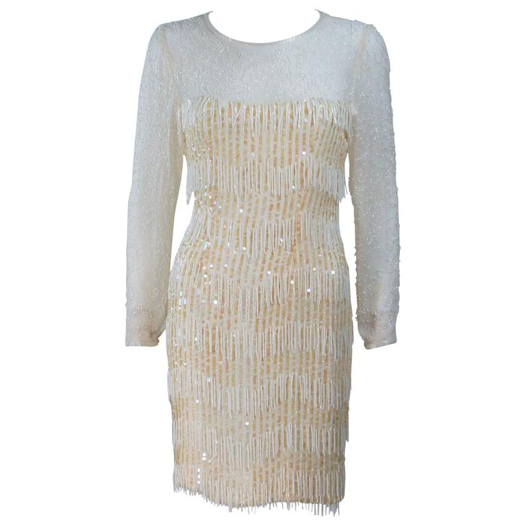 Custom Vintage Off White Cream Iridescent Cocktail Dress Size 2-4