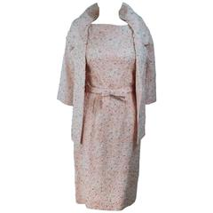HAUTE COUTURE INTERNATIONALE 1960's Pink Beaded Dress and Jacket Ensemble Size 2
