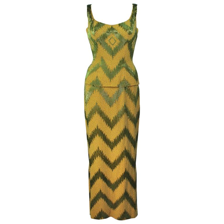 1950's Green & Chartreuse Two Piece Beaded Gown Size 4