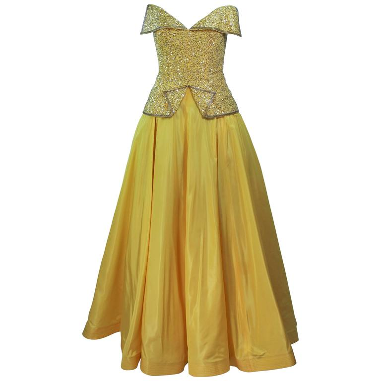 MURRAY ARBEID Yellow Embellished Full Length Strapless Gown Size 2-4 1