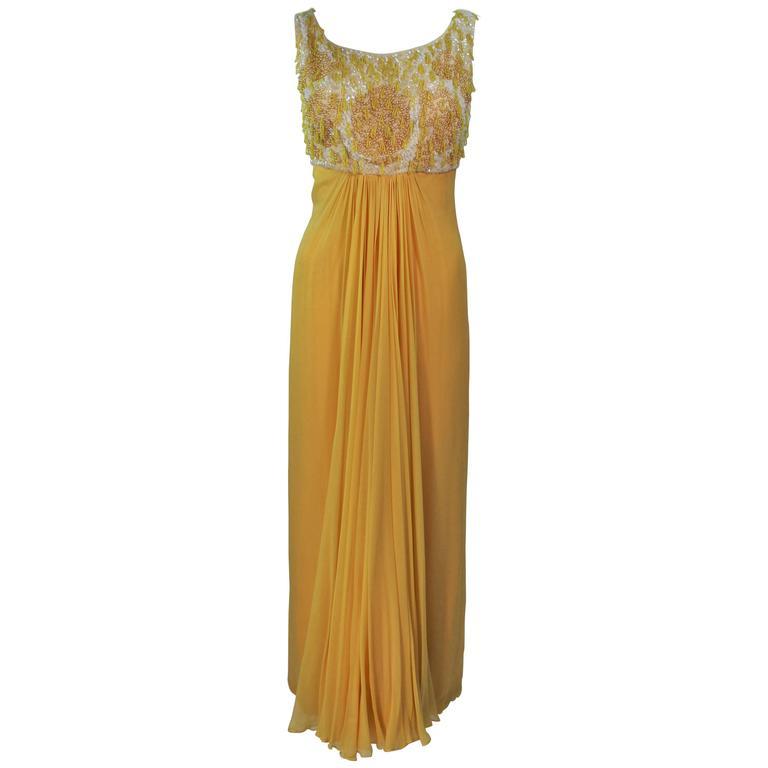 1960's Beaded Yellow Draped Chiffon Gown Size 2-4
