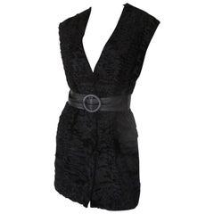 Sleeveless Black Astrakhan/Persian Lamb Fur vest