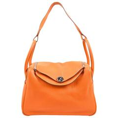 Hermes Fire Orange Taurillon Clemence Calfskin Leather 30cm Lindy Handbag