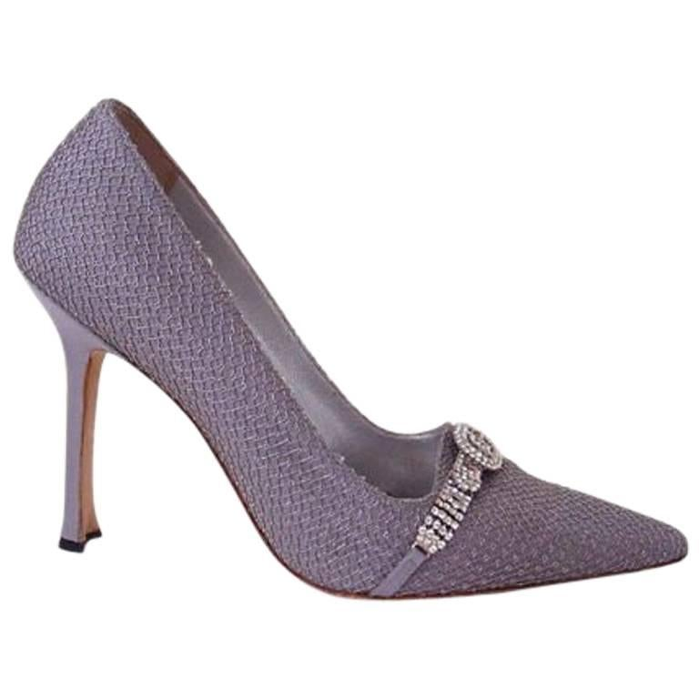 12838c48590b3 Manolo Blahnik Shoe Vintage Pump Gray Satin and Tulle Diamante Detail 39 / 9  For Sale