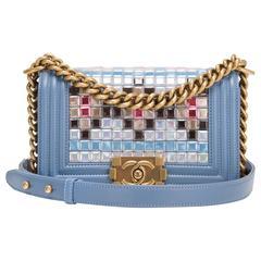 Chanel Light Blue Lambskin Small Mosaic Boy Bag