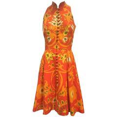 1960s Geoffrey Beene Cotton Piqué Mod Print Mini Dress