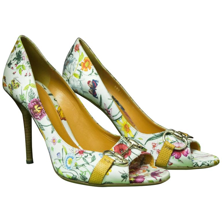 4772f1953182 Gucci Floral Peep Toe High Heels at 1stdibs