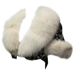 1950s Beaded Bolero With White Fox Fur Trim