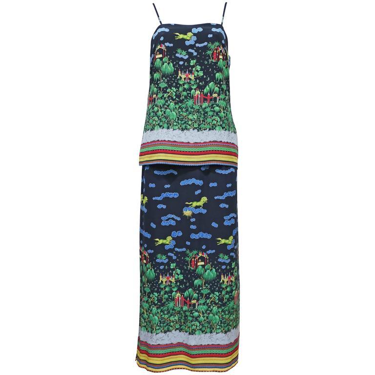 Murray Arbeid tiered silk dress with Oriental print, c. 1970s