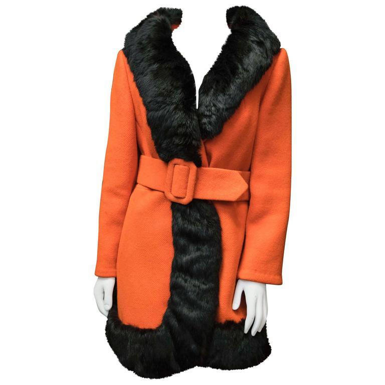 1960s Lilli Ann Red Rabbit Trimmed Coat