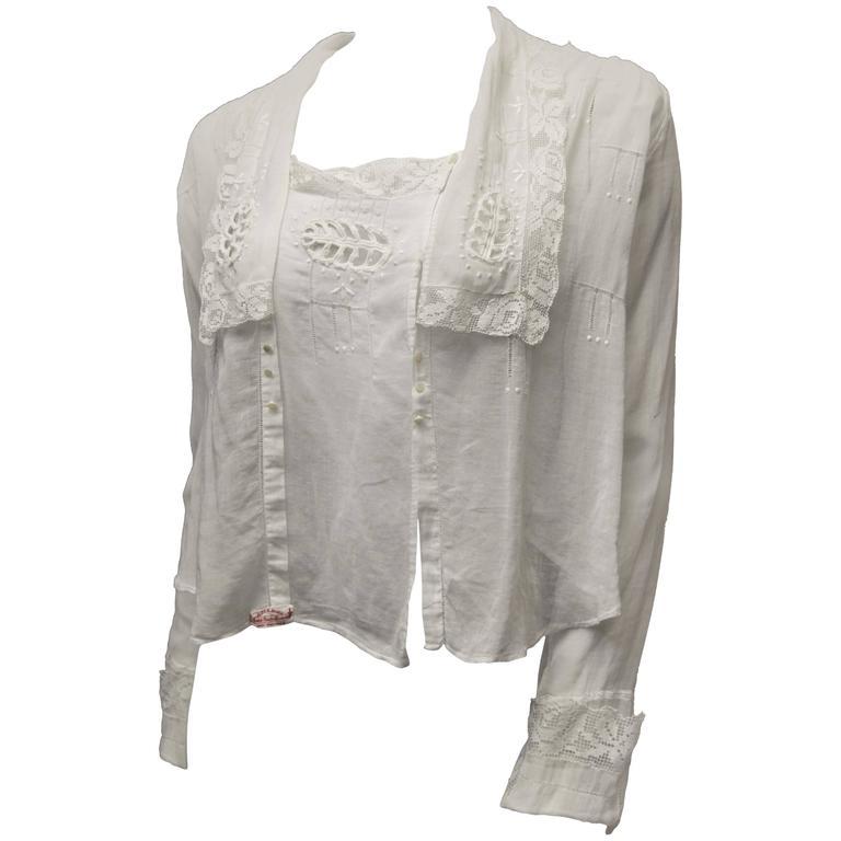 1910s White Lace Blouse