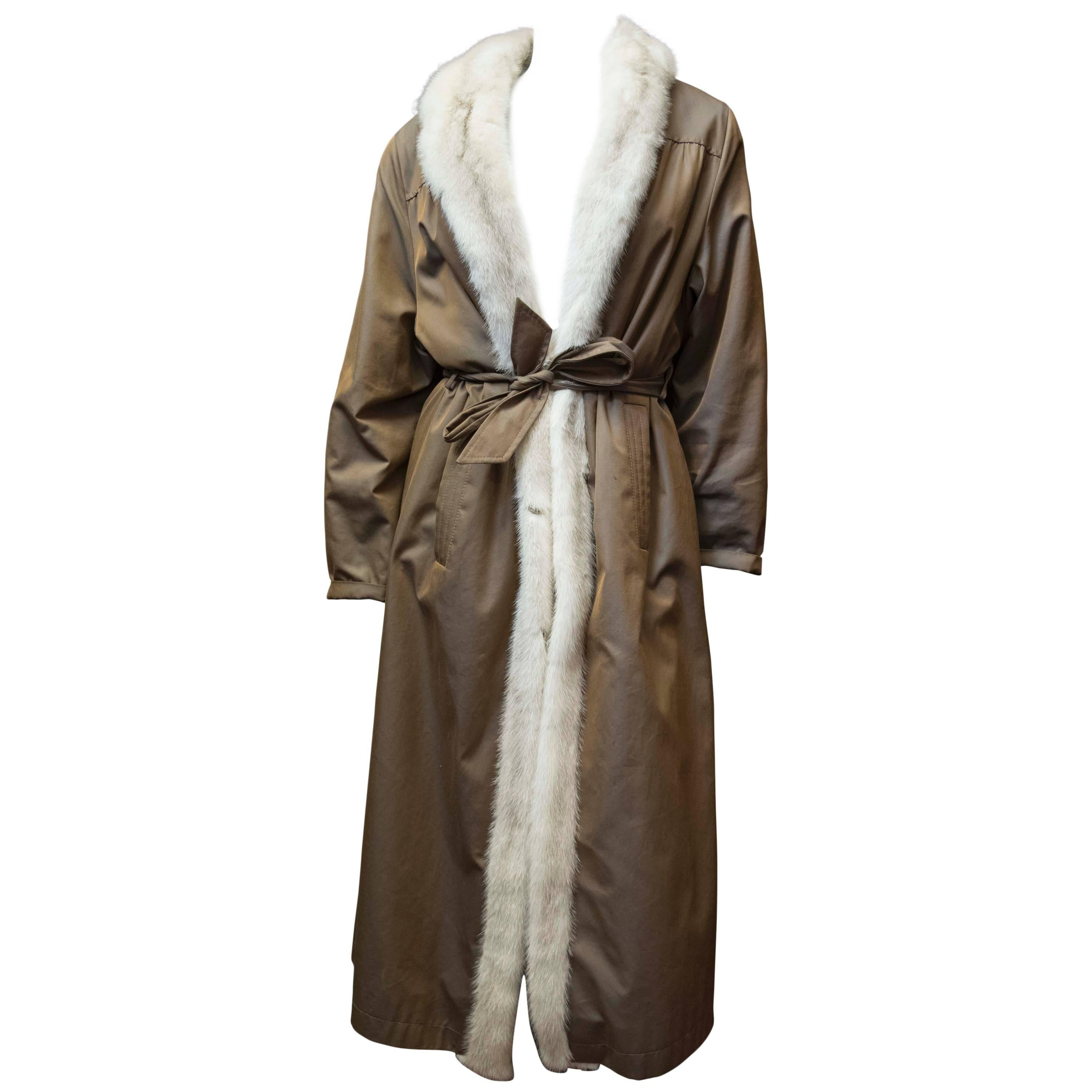 White Mink Fur Lined Trench Raincoat
