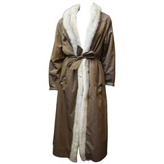 1980s White Mink Lined Trench Raincoat