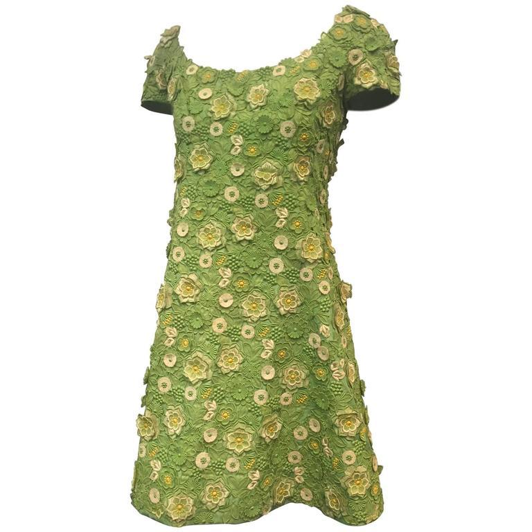 1960s arnold scaasi apple green silk appliqu lace mini for Apple green dress shirt