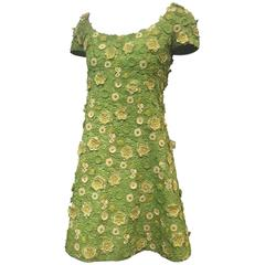 1960s Arnold Scaasi Apple Green Silk Appliqué Lace Mini Dress w/ Bolero Jacket