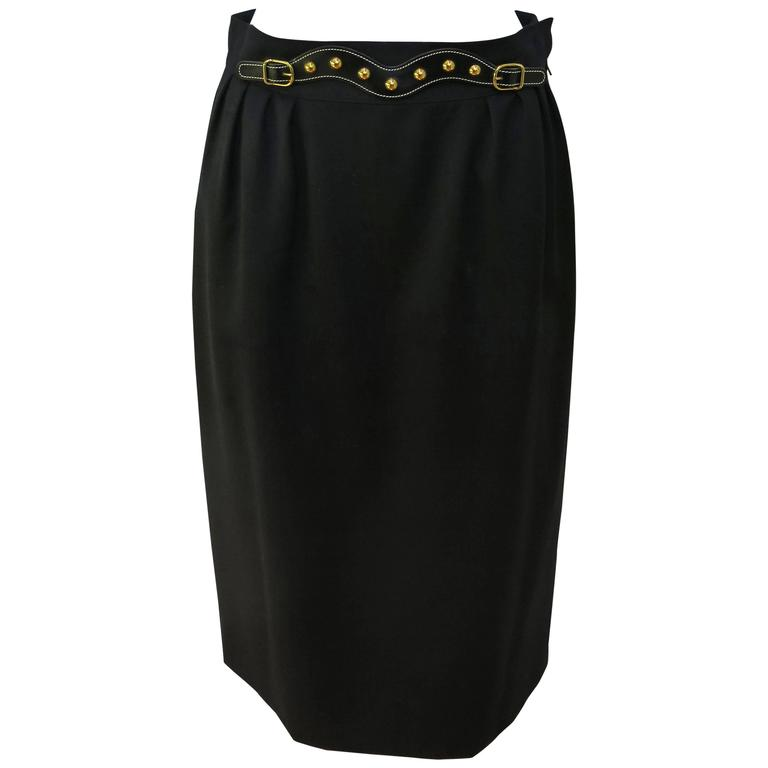 Hermès Black Knee Length Belt Detail Pencil Skirt Size 4, Late 1970s