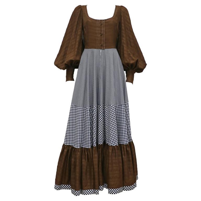 John Bates for Jean Varon checked tiered maxi dress, c. 1970s