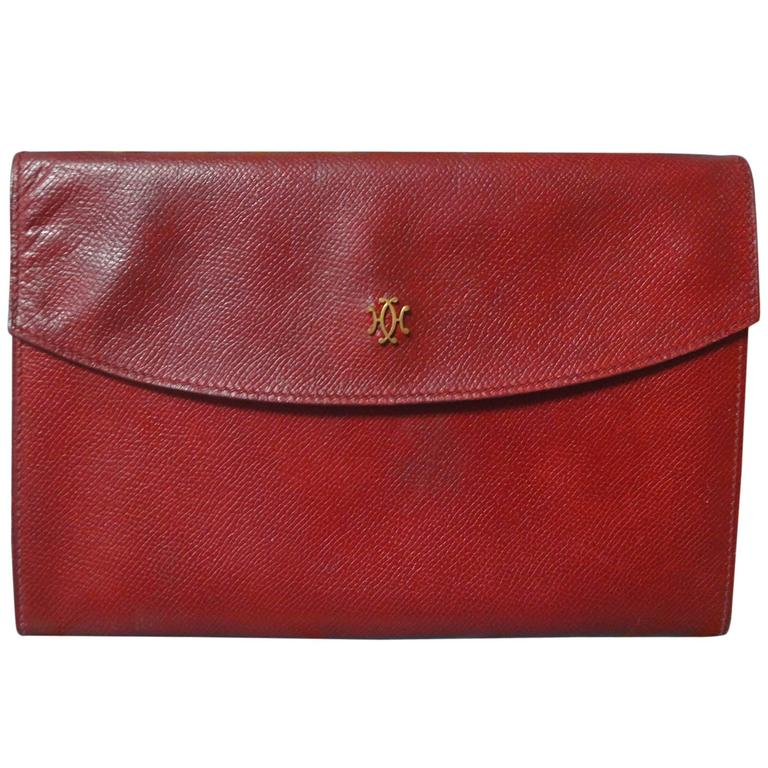 80s vintage HERMES brick red leather clutch pouch. can be wallet purse as well. 1