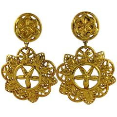 Christian Lacroix Vintage Massive Gold Toned Openwork Abstract Floral Earrings