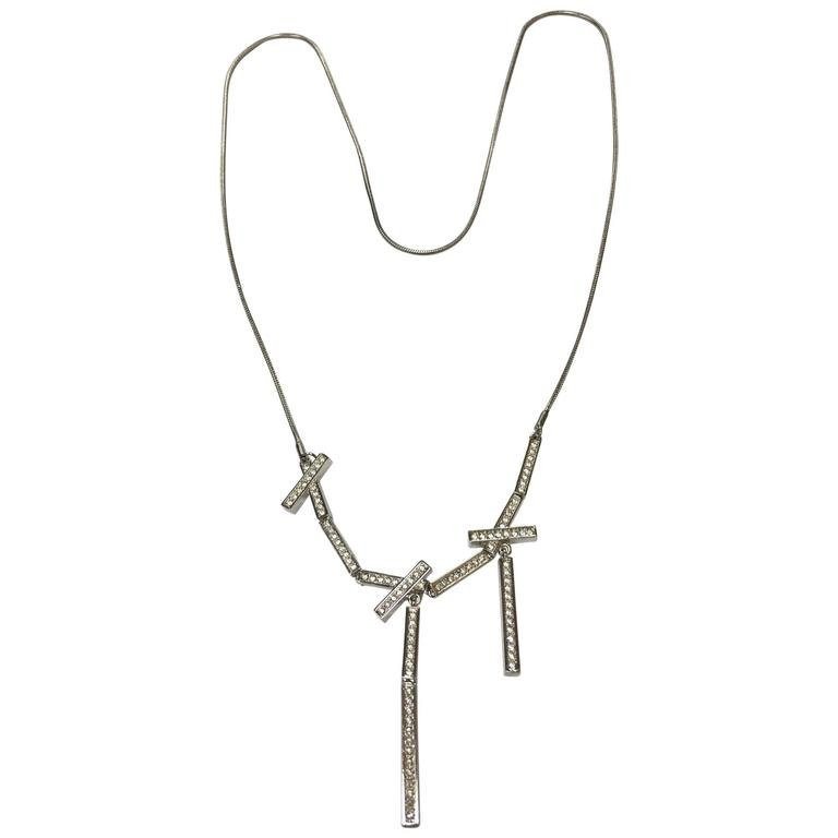 Stainless Steel Multi Bar CZ Encrusted Pendant Necklace 1